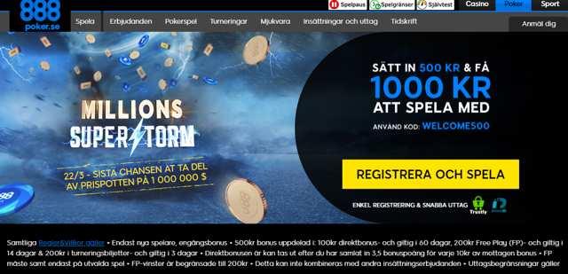 888poker - Endast nya spelare, engångsbonus - 500kr bonus