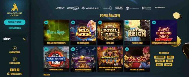 No Account Casino är ett snabbt, effektivt och roligt spelbolag