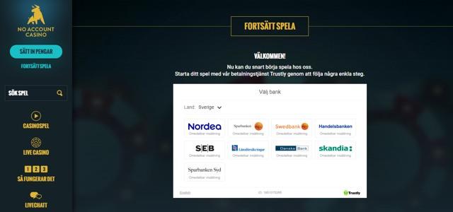 Noaccountcasino - starta ditt spel med vår betalningstjänst Trustly genom att följa några enkla steg