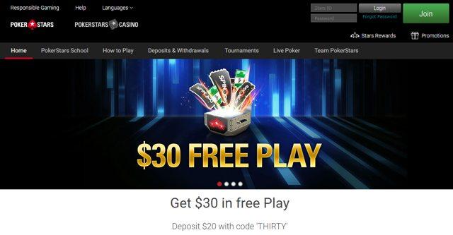 Pokerstars - Get $30 in free Play